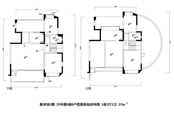 新岸线3期 20号楼D座B户型图原始结构图 5房2厅3卫 315m²