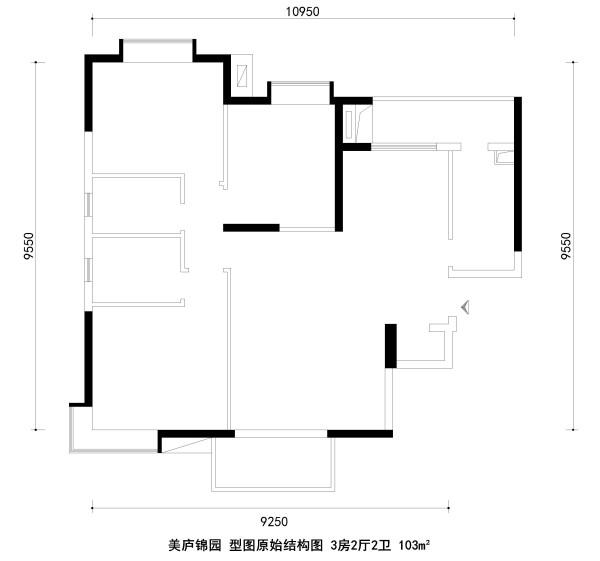 美庐锦园 型图原始结构图 3房2厅2卫 103m²