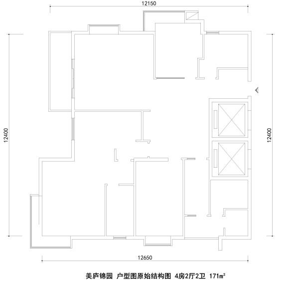 美庐锦园 户型图原始结构图 4房2厅2卫 171m²