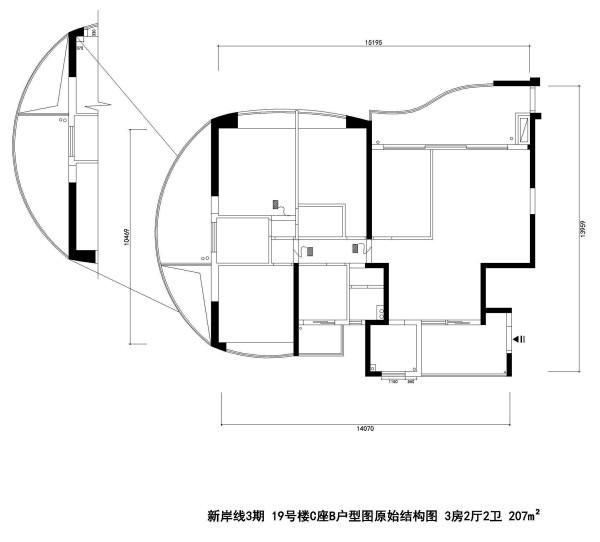 新岸线3期 19号楼C座B户型图原始结构图 3房2厅2卫 207m²