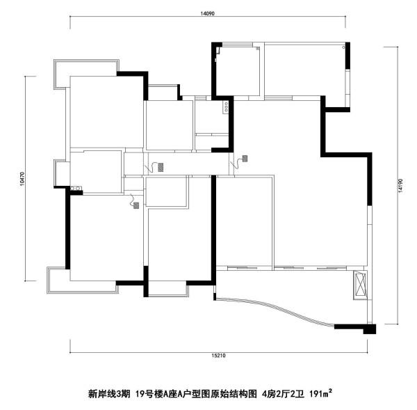 新岸线3期 19号楼A座A户型图原始结构图 4房2厅2卫 191m²