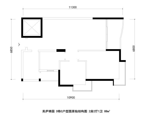 美庐锦园 D栋C户型图原始结构图 2房2厅1卫 88m²