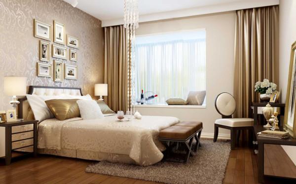 卧室设计: 设计理念:整体在设计上平淡中见端庄,进而体现宁静亲近,舒适精致。亮点:土豪金的软装搭配,梳妆台功能区利用