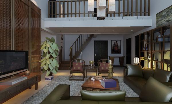 古典的明清家具配以现代的皮质沙发,古今结合,色调一致,利用雕花屏风来分割空间并起到了电视背景墙的效果,极具文化韵味和独特风格。