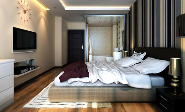 色彩搭配温馨,安静,舒适,功能性强。 亮点:卧室的选色以暖色为主,安静,温馨,舒适,让现代化都市男女得到了完美的放松,床头深色竖条图案的壁纸使整体空间稳重大气,又不失时尚与活力。