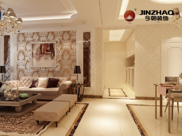 整个居室内地面与顶面都做了造型,对区域进行了明确的划分。客厅吊顶造型用的比较多,周边吊顶造型用石膏线修饰再加上顶面用石膏板拉缝辅助