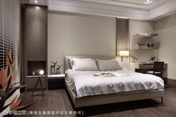 改以大地色调与木质色阶的搭配,构筑空间机能,不对称的机能设计在简单宁静之中,表现单人卧室的自由感受。