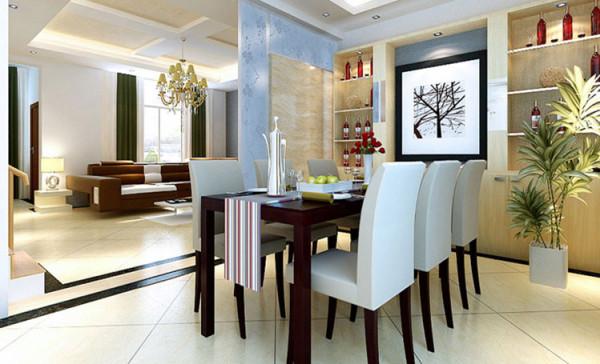 餐厅采用华丽的水晶灯,高雅的酒柜及背景墙都体现了主人高贵的品味。