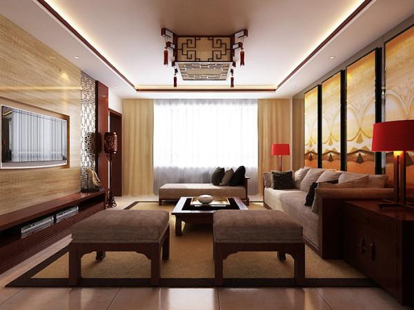 在吊顶的设计以简单为主,在吊顶的装饰上跟家具整体搭配,在沙发玄关的设计上以带有中式元素的实木隔断与整个实木家具相辅相成。