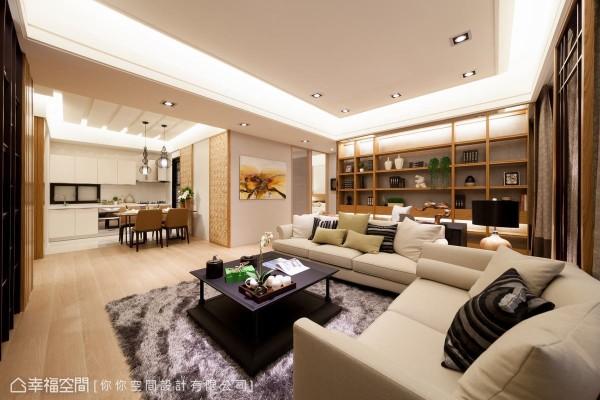由客厅、书房、餐厨空间连袂组成的新公领域关系,经营着一家三口的宽裕场景。