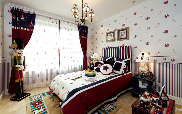 卧室中最大的亮点就是把飘窗改造成休闲区,在私人领域有着个人的独有空间,是打发午后时光的最好场所,非常浪漫的地中海style。