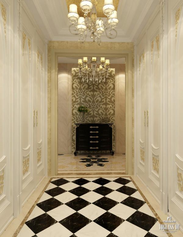 门厅顶面金箔壁纸、地面拼花的大理石、墙面的马赛克加上欧式新古典造型的门板等别墅软装配饰,使整个空间浑然一体,从这里开启别墅舒适宜居的贵族生活。