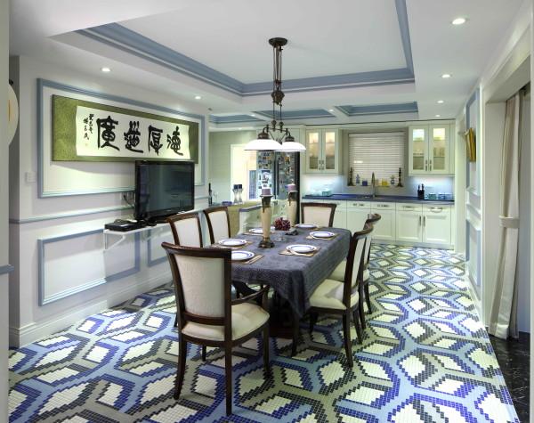 由客厅进入餐厅,便可见十分开阔的就餐空间。餐厅地面选用个性十足的进口马赛克地拼,与墙面颜色相互呼应,成为整个空间的点睛之笔。