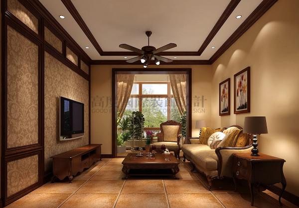 天悦府——美式复古风格 成都高度国际装饰 客厅