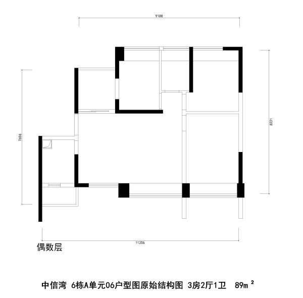 中信湾 6栋A单元06户型图原始结构图 3房2厅1卫  89m²