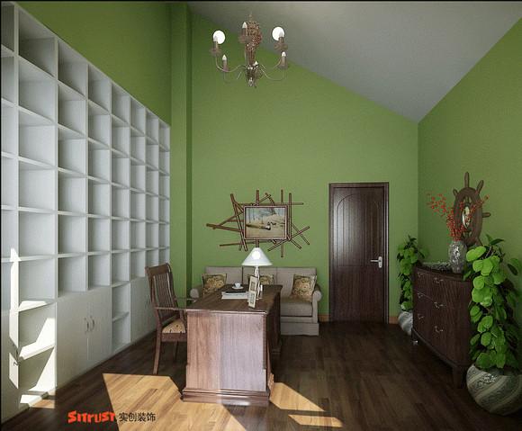 书房是一个让人安静的空间,绿色亦是心灵的相犀色,也体现主为对生活态度,自然与豁达。
