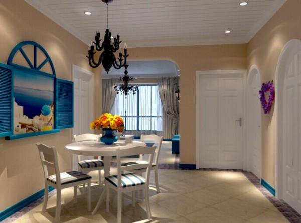 浅咖色的墙面搭配白色的文化砖,在地中海风格的表面下,蕴藏着内敛韵味。