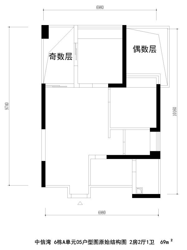 中信湾 6栋A单元05户型图原始结构图 2房2厅1卫  69m²