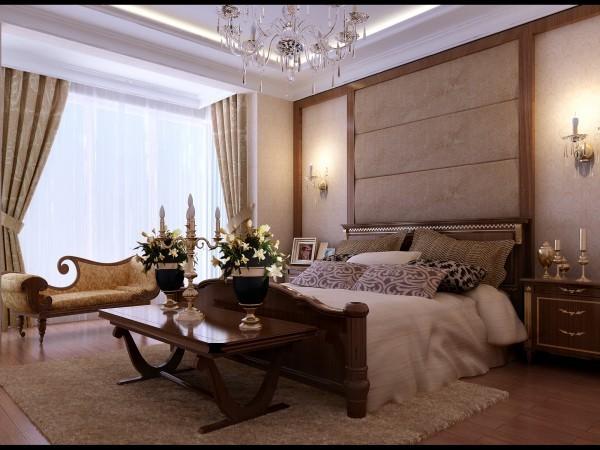设计师在卧室很好的利用了空间的划分,桌椅摆放在落地窗处,更好的划分了休闲区域,同时又不失生动的意境。