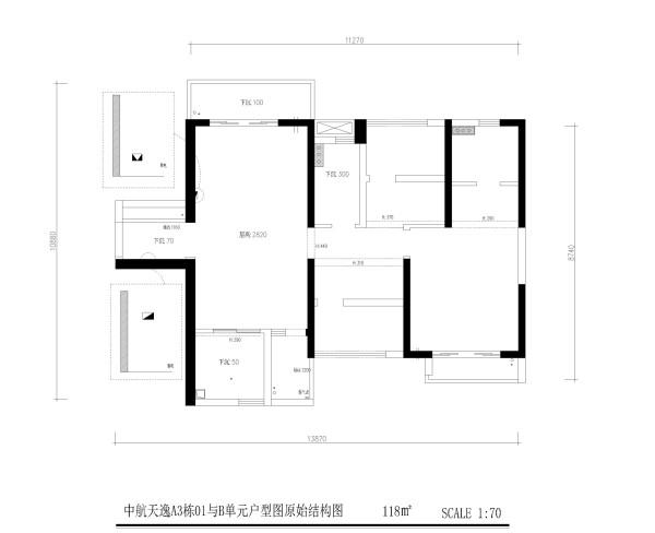中航天逸A3栋01与B单元户型图原始结构图3房2厅2卫