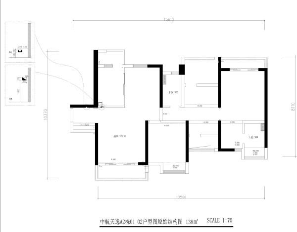 中航天逸A2栋01 02户型图原始结构图4房2厅2卫