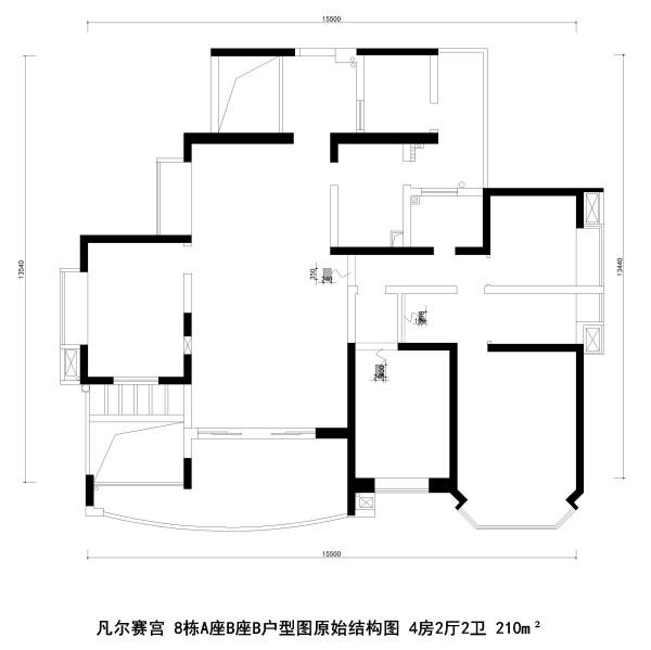 凡尔赛宫 8栋A座B座B户型图原始结构图 4房2厅2卫 210m²