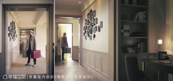 左右串联出绵长深邃的走廊,而在宽幅的墙面上,稳重的壁板风格搭配充满故事性的相片墙,让人真的有到访欧洲旅社,跟着服务生的脚步,引领进入客房的奇想。