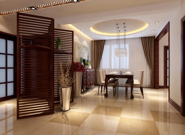 镂空屏风与餐桌上方吊顶装饰的搭配设计体现出优雅兼时尚,通过温馨的暖色灯光营造出温馨的餐厅氛围!