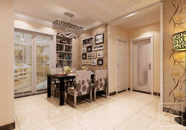 盛润锦绣城三室两厅116平方餐厅造型装修设计,满足功能区使用-酒柜,储放物品。