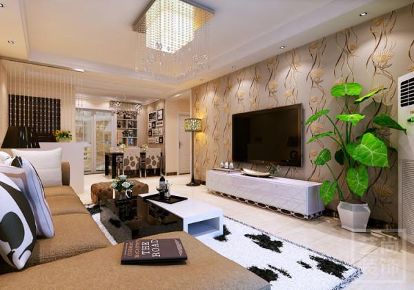 盛润锦绣城2期三室两厅,客厅简约装修效果图,入户处采用珠帘软隔断,不显的客厅突兀。