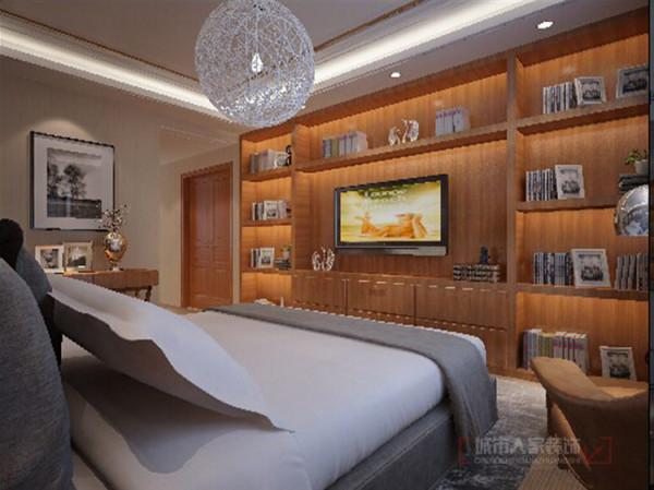 电视书架式的电视墙,其壁纸与地毯运用了与客厅样式来装饰,整个空间充满温馨、书香气、艺术感,而且与客厅相呼应。