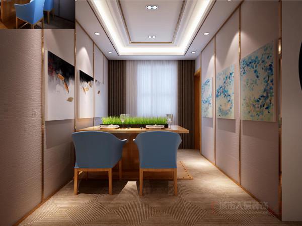 餐厅减少了装饰,只在墙面挂置着组合装饰画,并在墙面加入竖条的装饰使空间变高,墙面装饰条与调度相得益彰,空间不显空旷乏味,反而使空间变得简单、大方、雅致。