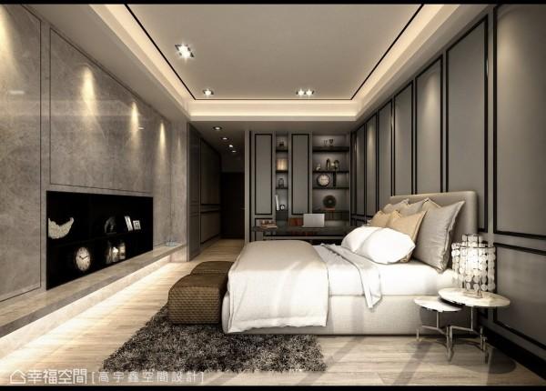 深色线性造型运用,于灰阶的基底之上,由主墙延伸床侧阅读机能的收纳与展示造型;而电视主墙以内嵌的收纳,与线性框的细腻切裁,创造对称的视觉安定感受。 (此为3D合成示意图)