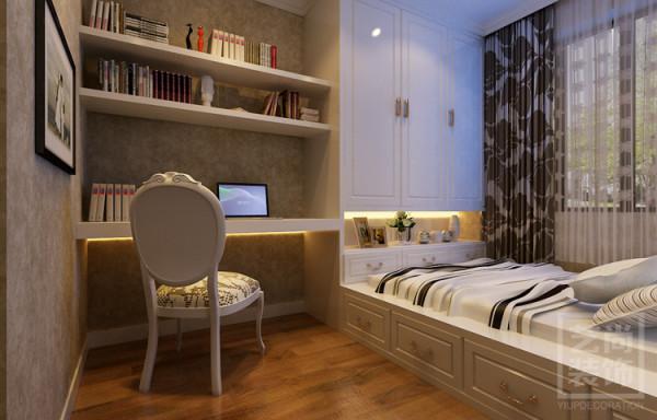 盛润锦绣城三室两厅书房榻榻米装修设计,衣柜,书桌储物空间得到大大满足了。