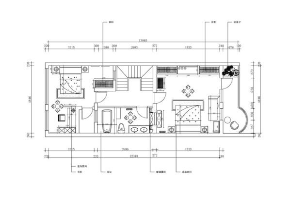 尚东庭210平米户型 三层平面布置图