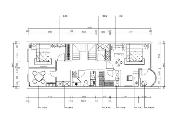 尚东庭210平米户型 二层平面布置图