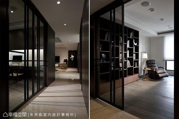 以电视墙侧的端景为起点,一以贯之的串起全空间机能,书房与佛堂整合的多功能室,以铁件与茶玻拉门隔间丰富了廊道风景。