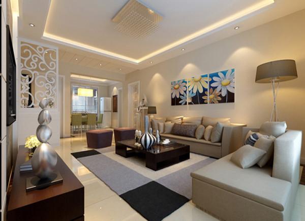 设计理念:空间重在雕琢,于精致中彰显品味,电视背景墙采用石膏板搂槽内藏灯带搭配壁纸的手法,电视墙立体而具有层次感,内敛稳重。