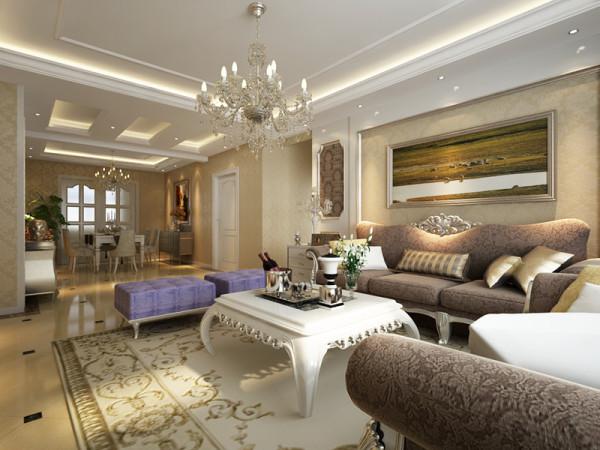本方案的客厅简洁大方,大理石的电视背景墙,配以欧式线条,内贴花纹壁纸,层次分明,色彩对比明显,