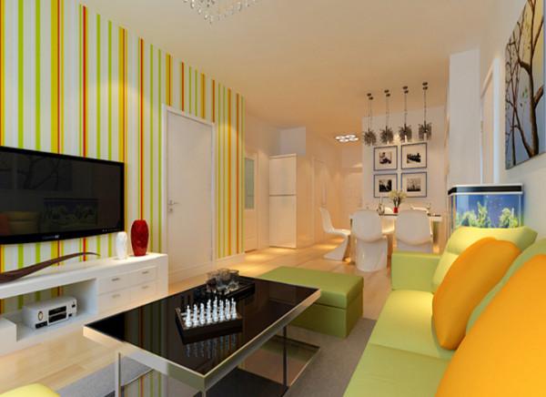 设计理念:淡淡的米黄色墙漆,柔和的暖黄色生活家地板,简约现代的电视柜和餐桌,营造出明亮、干净、简约的温馨浪漫客厅。