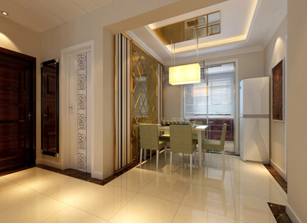 设计理念:餐厅的设计独具一格,咖色菱形镜面,拉伸空间感,视觉上扩大空间拉伸比例,与餐厅吊顶相得益彰,即是空间亮点又有实用意义。