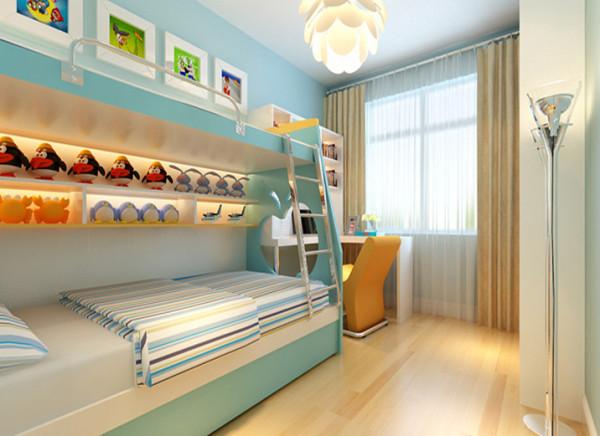 设计理念:儿童房的布置采用儿童上下床,节约空间,使得功能利用最大化,淡蓝色的墙漆,可以让儿童更加的阳光和开朗,快乐成长。