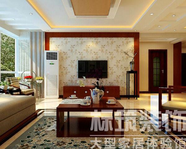 暖色基础加以垂直、水平线的变化,处处透着中式风格的气质,而纯白墙体、米色地砖等浅亮色的混入又将时尚感强调出来。