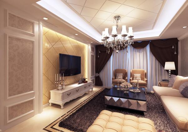 名流印象 133平现代简欧客厅装修效果图