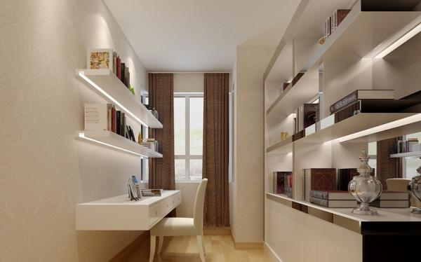 设计理念:一个安静舒适的卧室可以提高睡眠质量,提高工作和生活的效率,对心情的好坏也有一定的调剂作用。但是男主人经常需要用电脑到很晚女主人又怕吵,所以把主卧卫生间改造成一个精致的小书房供男主人使用