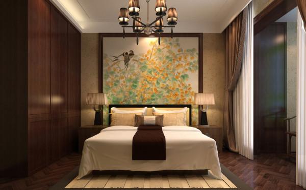 卧室吊顶的造型更显精致,并且在视觉上有效的增加房间的高度。卧室选用鱼骨拼木地板,卧室背景选用中式壁画,来烘托温馨舒适的中式卧室氛围。