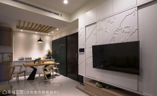 喜鹊跳上树梢报喜,牡丹花于一旁缤纷绽放,密底板切割的订制图腾宛如一幅画作,于电视主墙面上尽情推演。