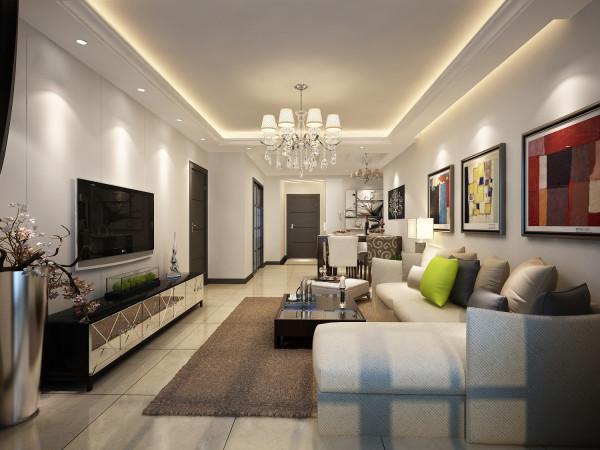 客厅以米黄色为主,地面铺设瓷砖,墙面没有过于复杂造型,主要以流线型作为主体 电视背景墙石膏板拉槽简单大方