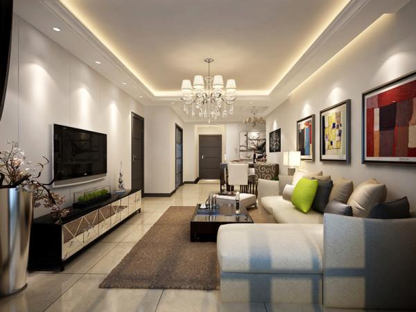 客厅以米黄色为主,地面铺设瓷砖,墙面没有过于复杂造型,主要以流线型作为主体,电视背景墙石膏板拉槽简单大方