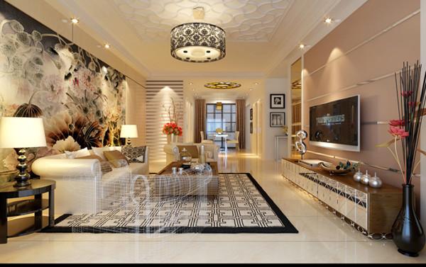 建研院120平米户型客厅效果图展示